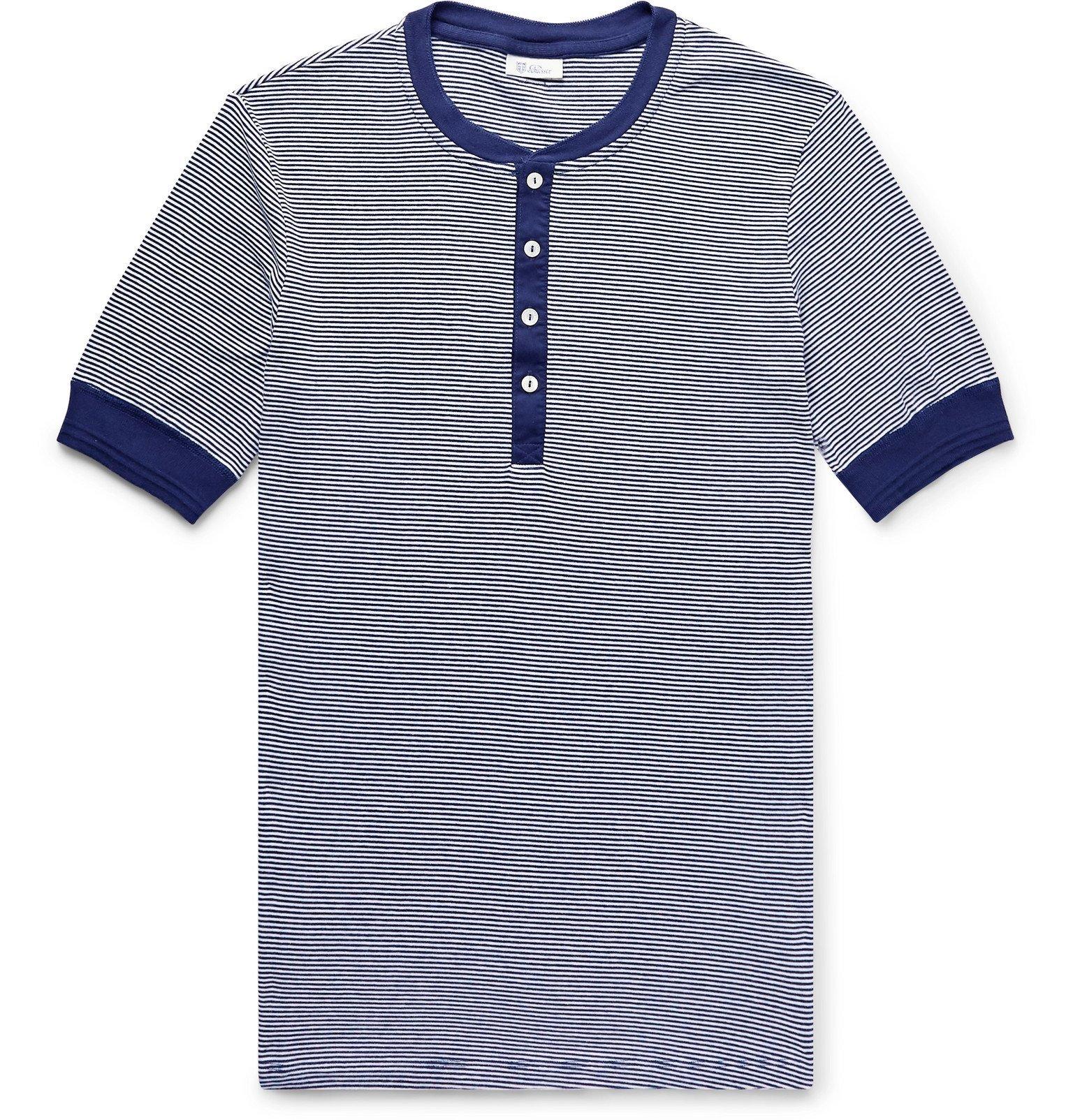 Schiesser - Karl-Heinz Slim-Fit Striped Cotton-Jersey Henley T-Shirt - Blue