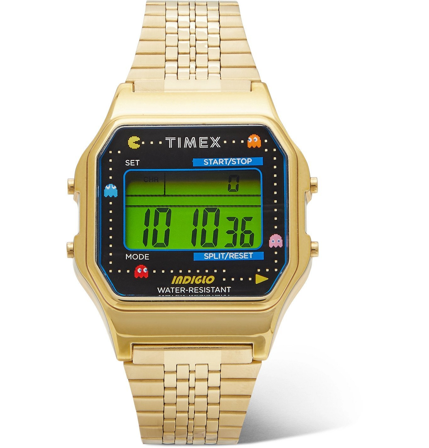 Photo: Timex - Pac-Man T80 34mm Gold-Tone Stainless Steel Digital Watch - Gold