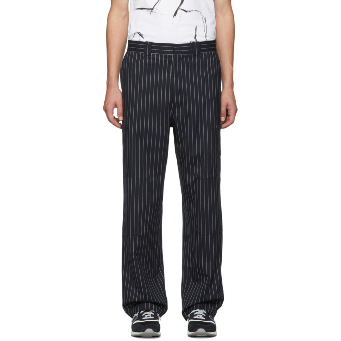 Photo: JW Anderson Navy Pinstripe Stretch Wool Trousers
