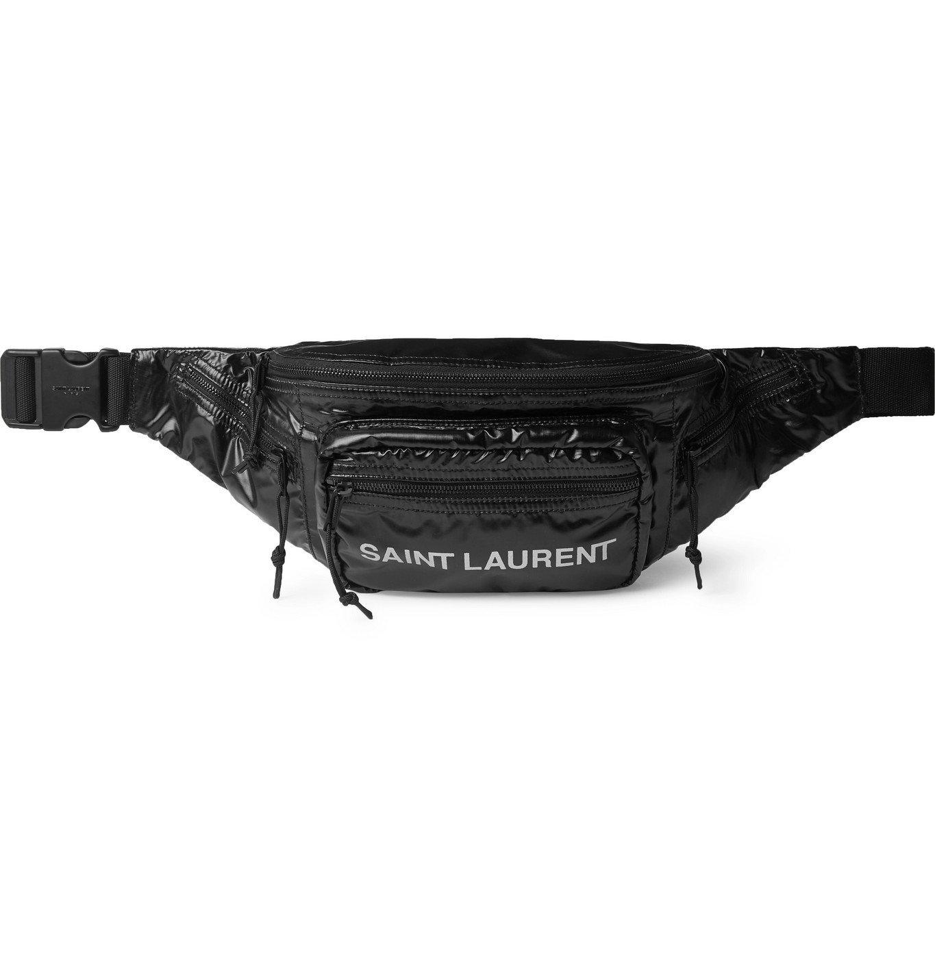 Photo: SAINT LAURENT - Logo-Print Ripstop-Shell Belt Bag - Black