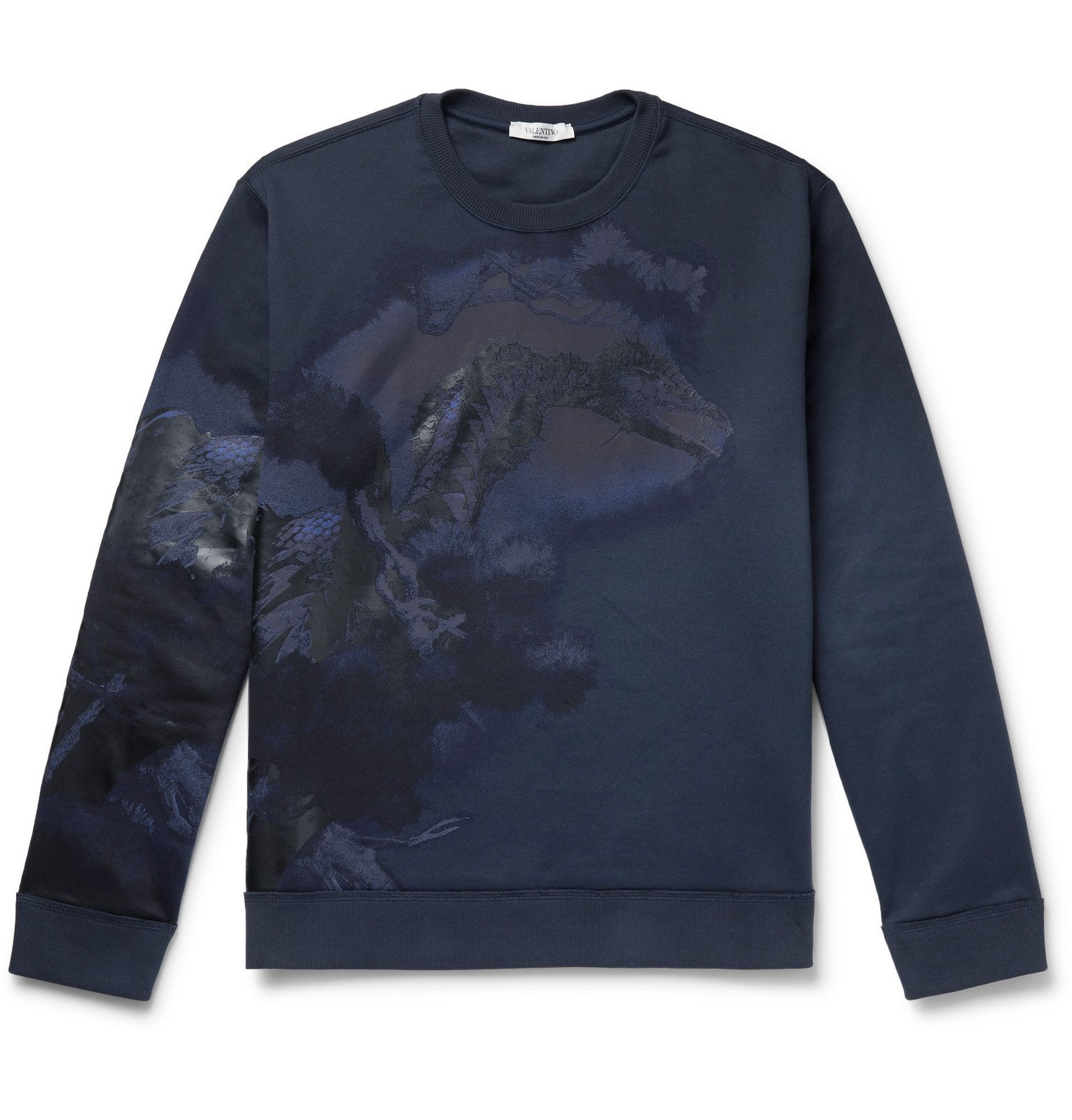 Photo: Valentino - Printed Loopback Cotton-Blend Jersey Sweatshirt - Blue