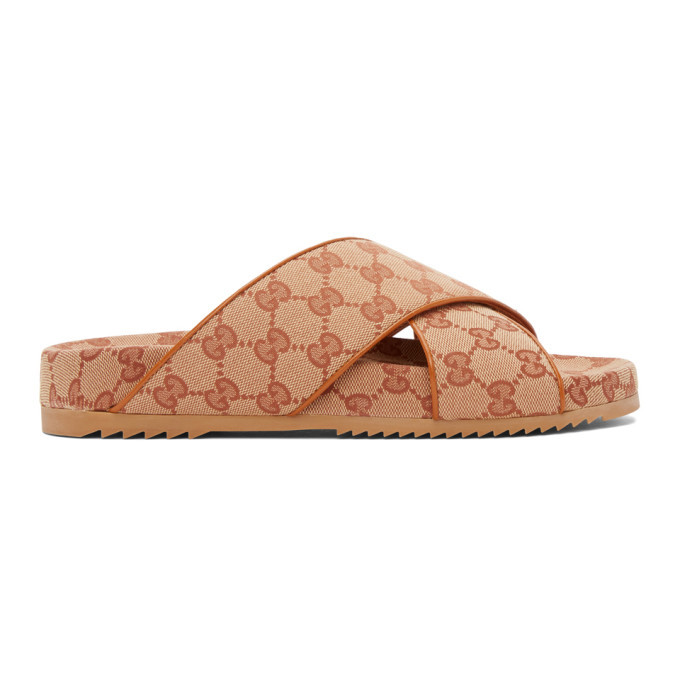 Photo: Gucci Beige GG Crisscross Sideline Sandals