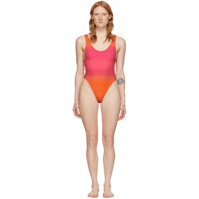 Photo: Jacquemus Pink and Orange Le Maillot Camerio One-Piece Swimsuit