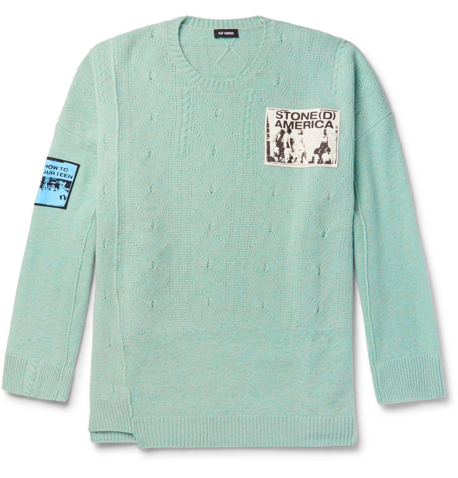 Photo: Raf Simons - Oversized Appliquéd Wool Sweater - Blue