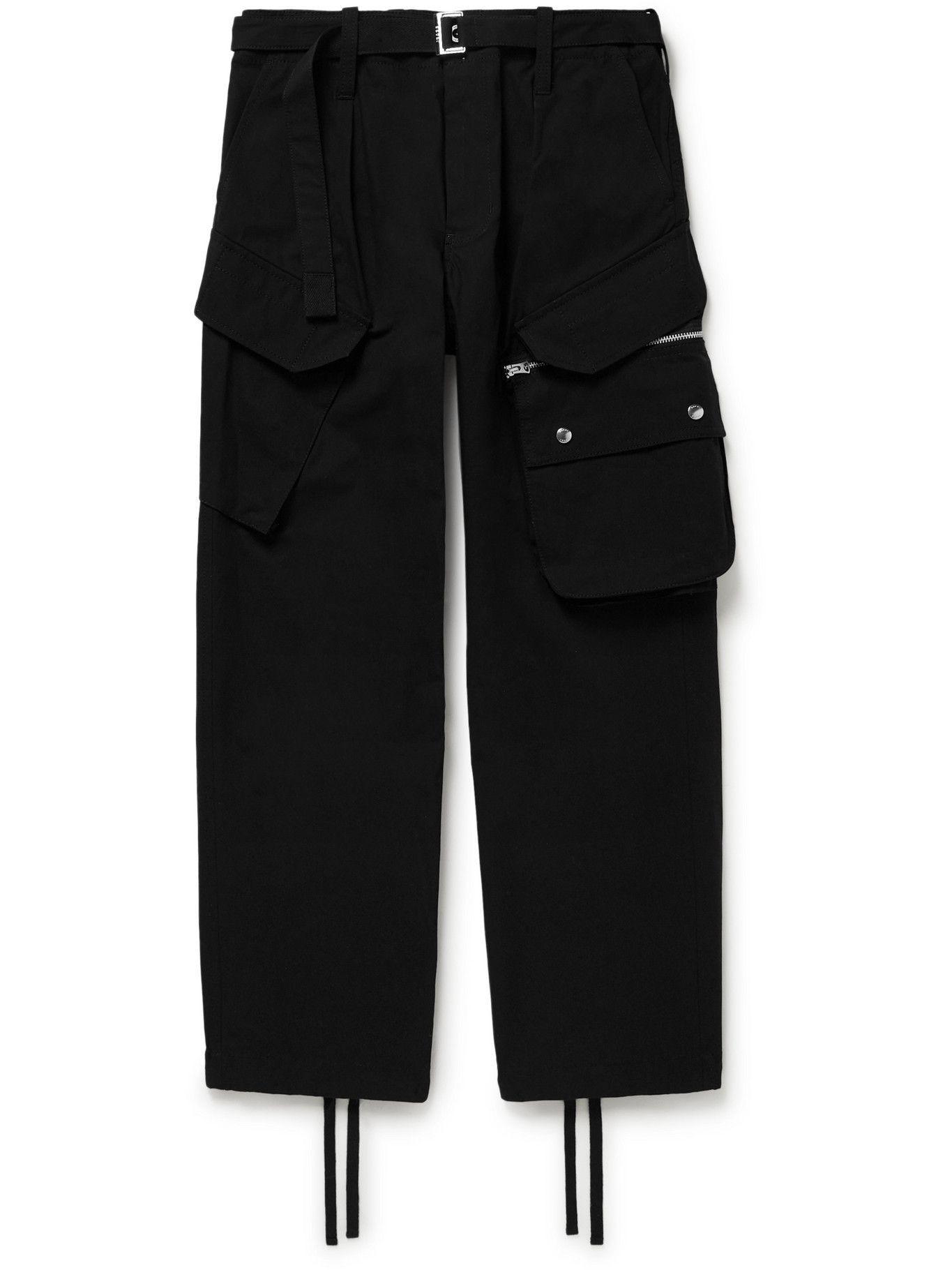Photo: Sacai - Cotton-Blend Oxford Cargo Trousers - Black