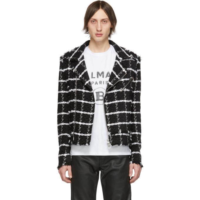 Photo: Balmain Black and White Checked Tweed Jacket