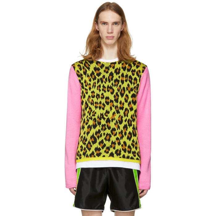 Photo: Comme des Garçons Homme Plus Yellow and Pink Knit Leopard Sweater