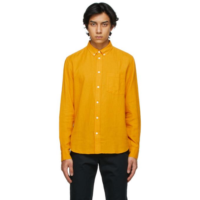 Photo: Wood Wood Orange Cotton and Linen Andrew Shirt