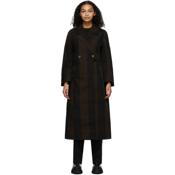 Photo: GANNI Brown Canvas Double-Breasted Coat