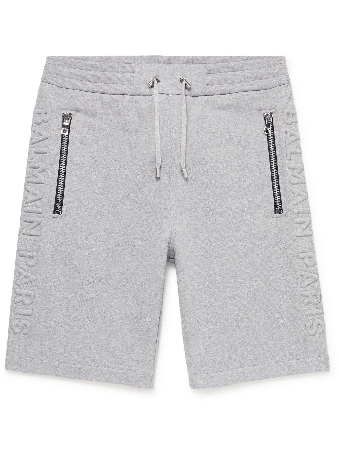 BALMAIN - Logo-Embossed Cotton-Jersey Drawstring Shorts - Gray
