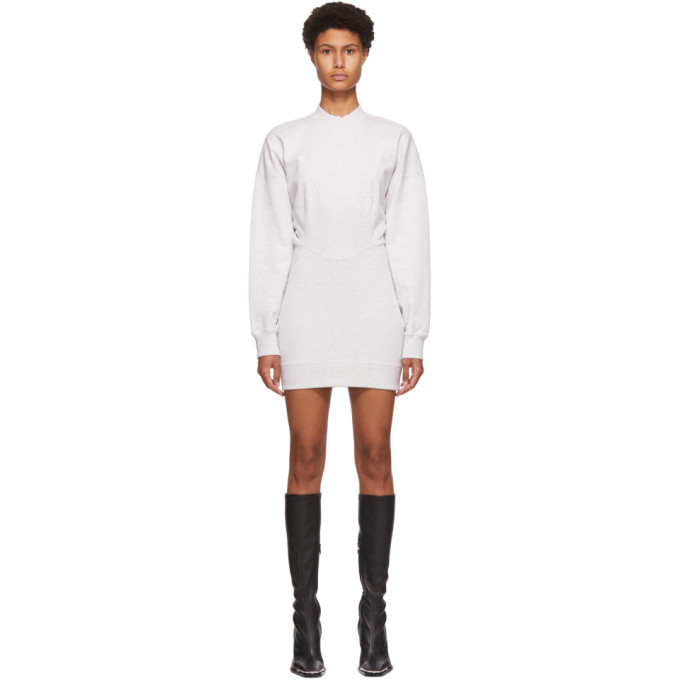 Photo: alexanderwang.t Grey Sculpted Long Sleeve Mini Dress