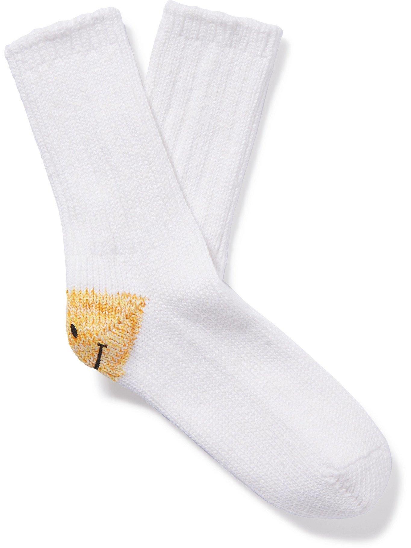 KAPITAL - Intarsia Cotton and Hemp-Blend Socks