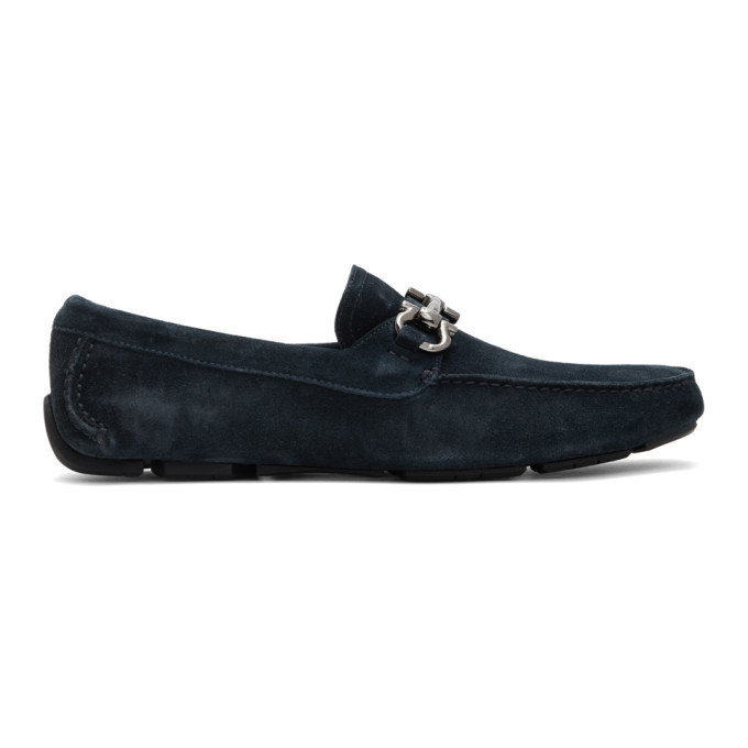 Photo: Salvatore Ferragamo Navy Gancini Driver Moccasin Loafers