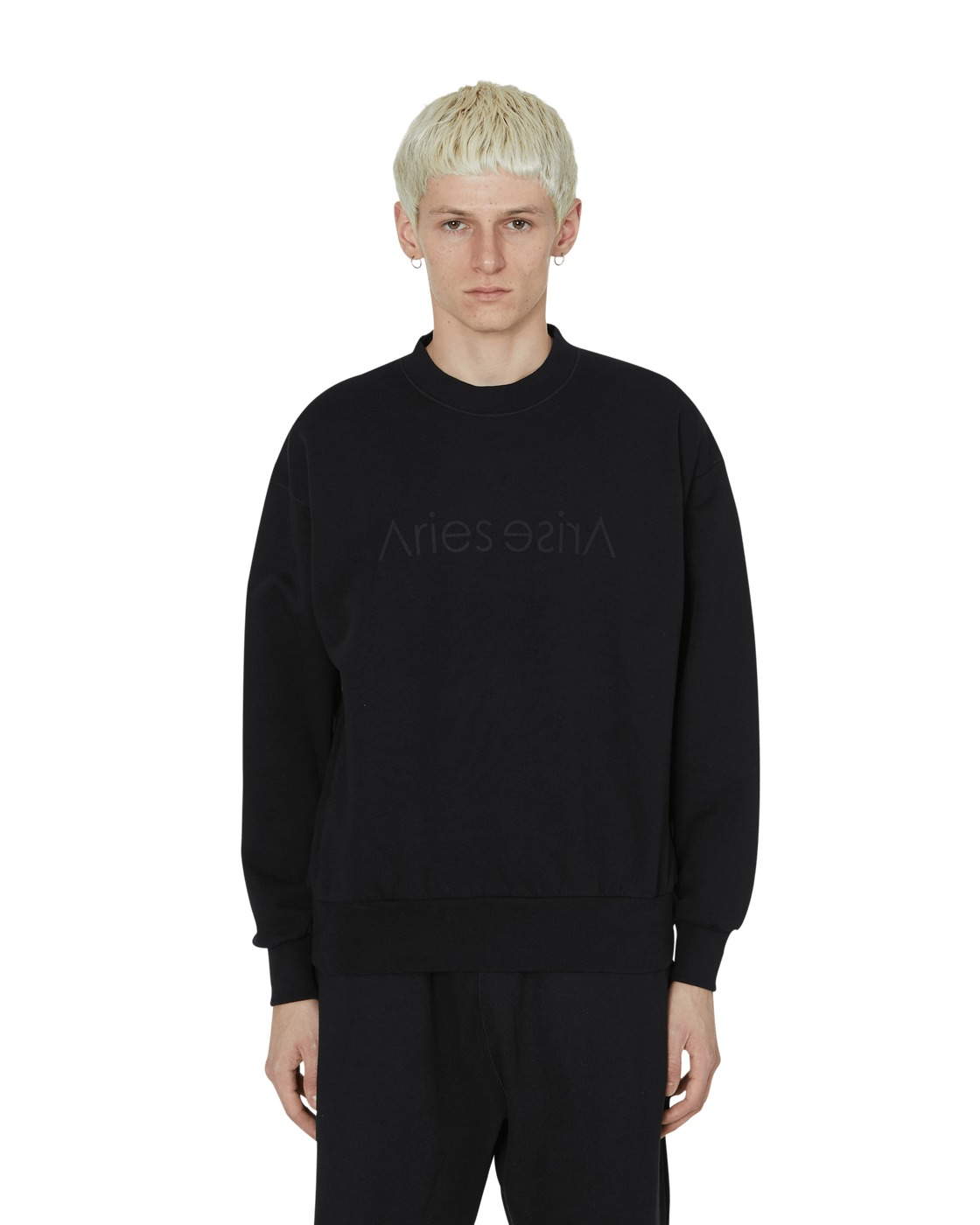 Aries Sans Print Crewneck Sweatshirt Black