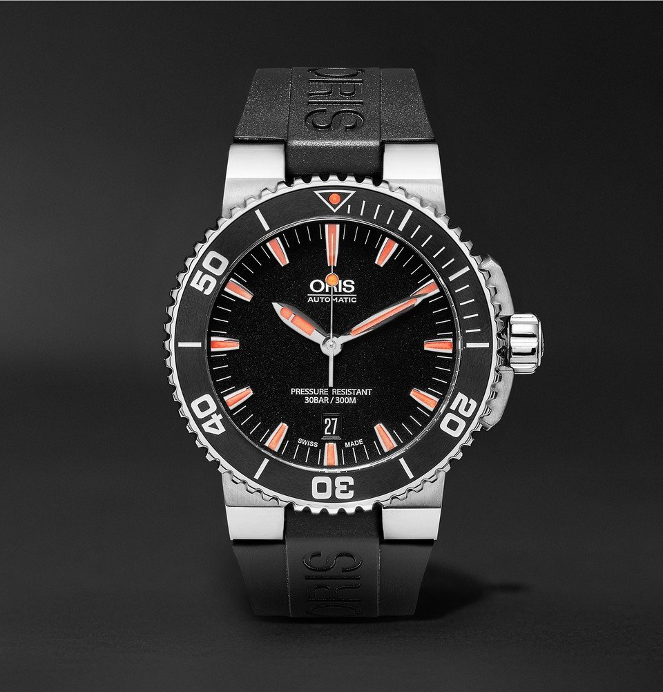 Photo: Oris - Aquis Date Divers Stainless Steel and Rubber Watch - Men - Black