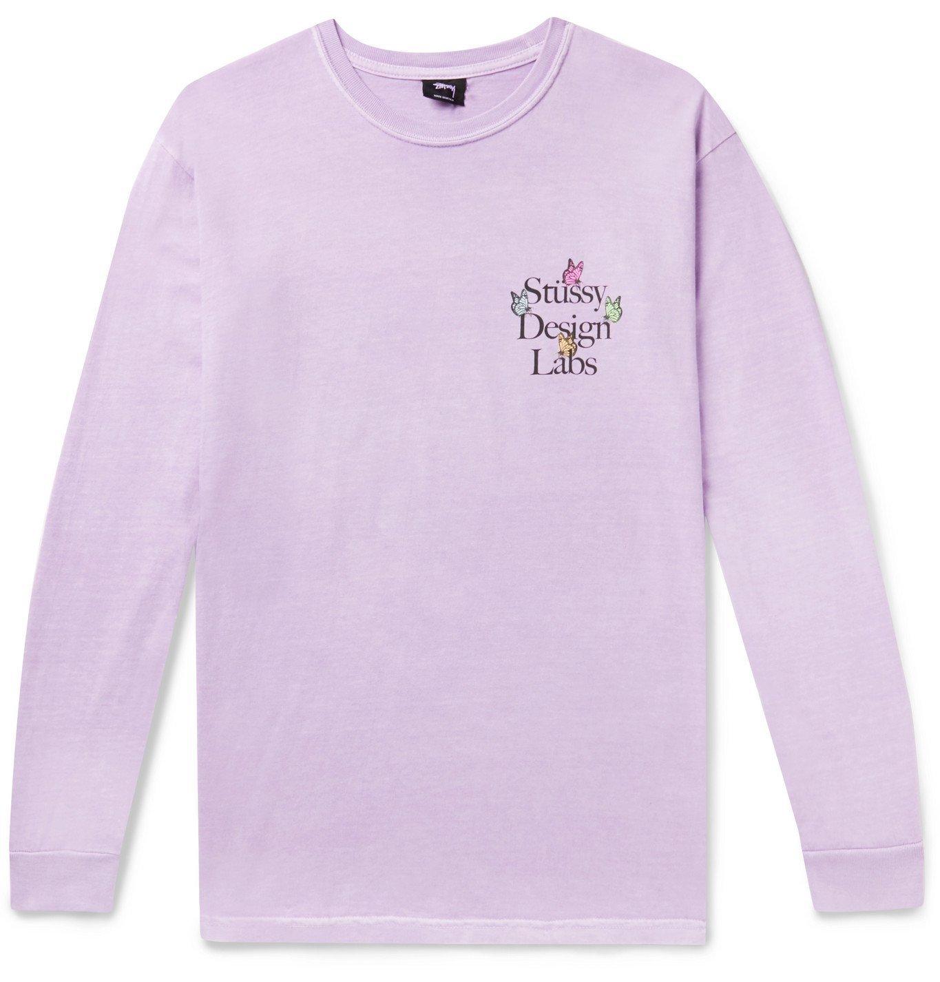 Photo: Stüssy - Printed Cotton-Jersey T-Shirt - Purple