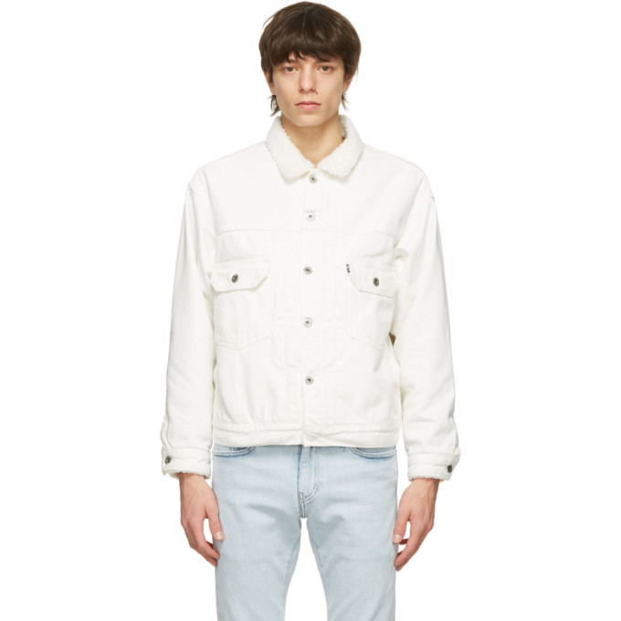 Photo: Levis Made and Crafted White Denim Sherpa Oversized Type II Jacket