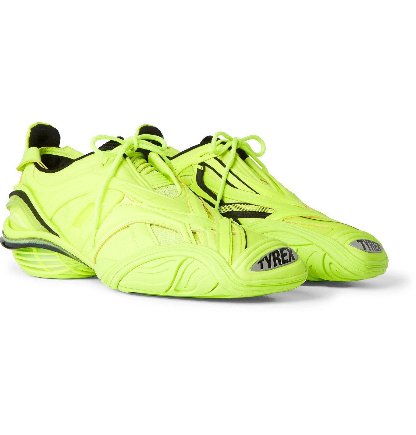 Photo: Balenciaga - Tyrex Rubber, Mesh and Faux Leather Sneakers - Yellow