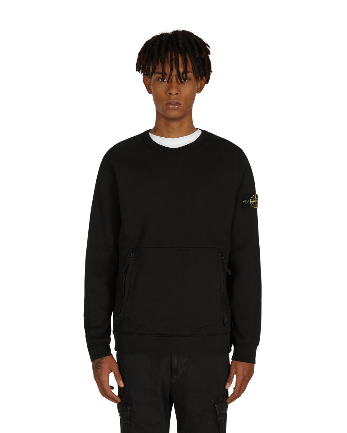 Stone Island Front Pocket Crewneck Sweatshirt Black