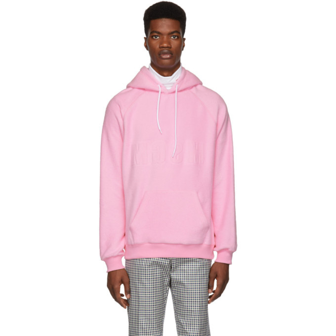 Photo: MSGM Pink Logo Backward Hoodie