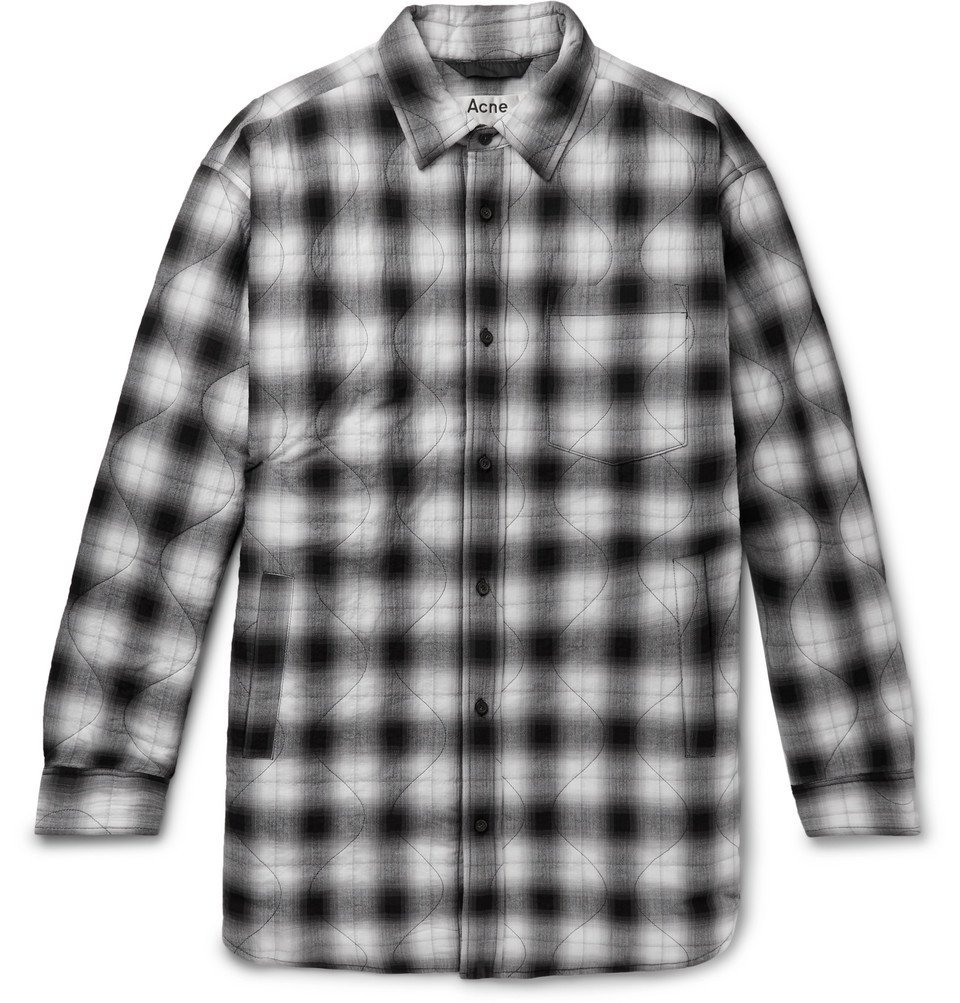 Photo: Acne Studios - Quilted Checked Herringbone Cotton-Blend Overshirt - Black