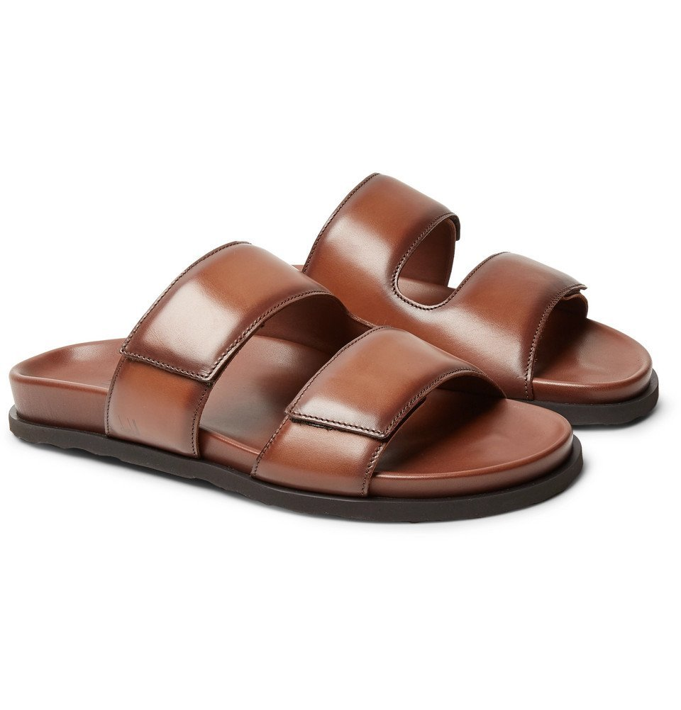 Photo: Dunhill - Leather Slides - Brown