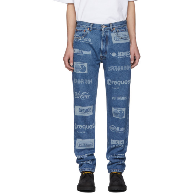 Photo: VETEMENTS Blue Fully Branded Jeans