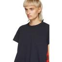 Sacai Navy and Orange Buffalo Check T-Shirt