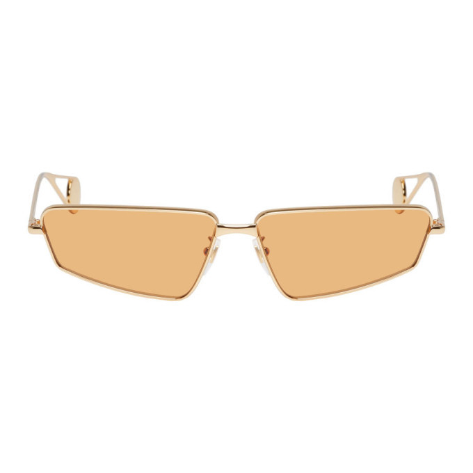 Photo: Gucci Gold and Orange Rectangular Sunglasses