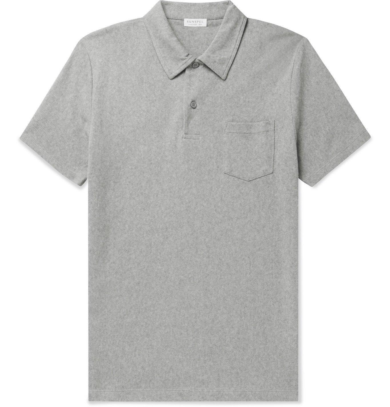 Sunspel - Riviera Slim-Fit Cotton-Mesh Polo Shirt - Gray
