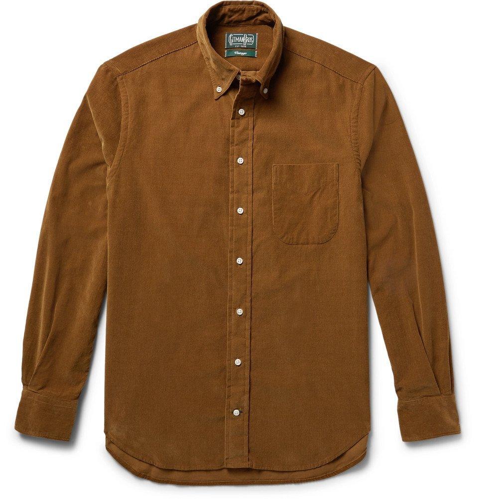 Photo: Gitman Vintage - Slim-Fit Button-Down Collar Cotton-Corduroy Shirt - Men - Brown