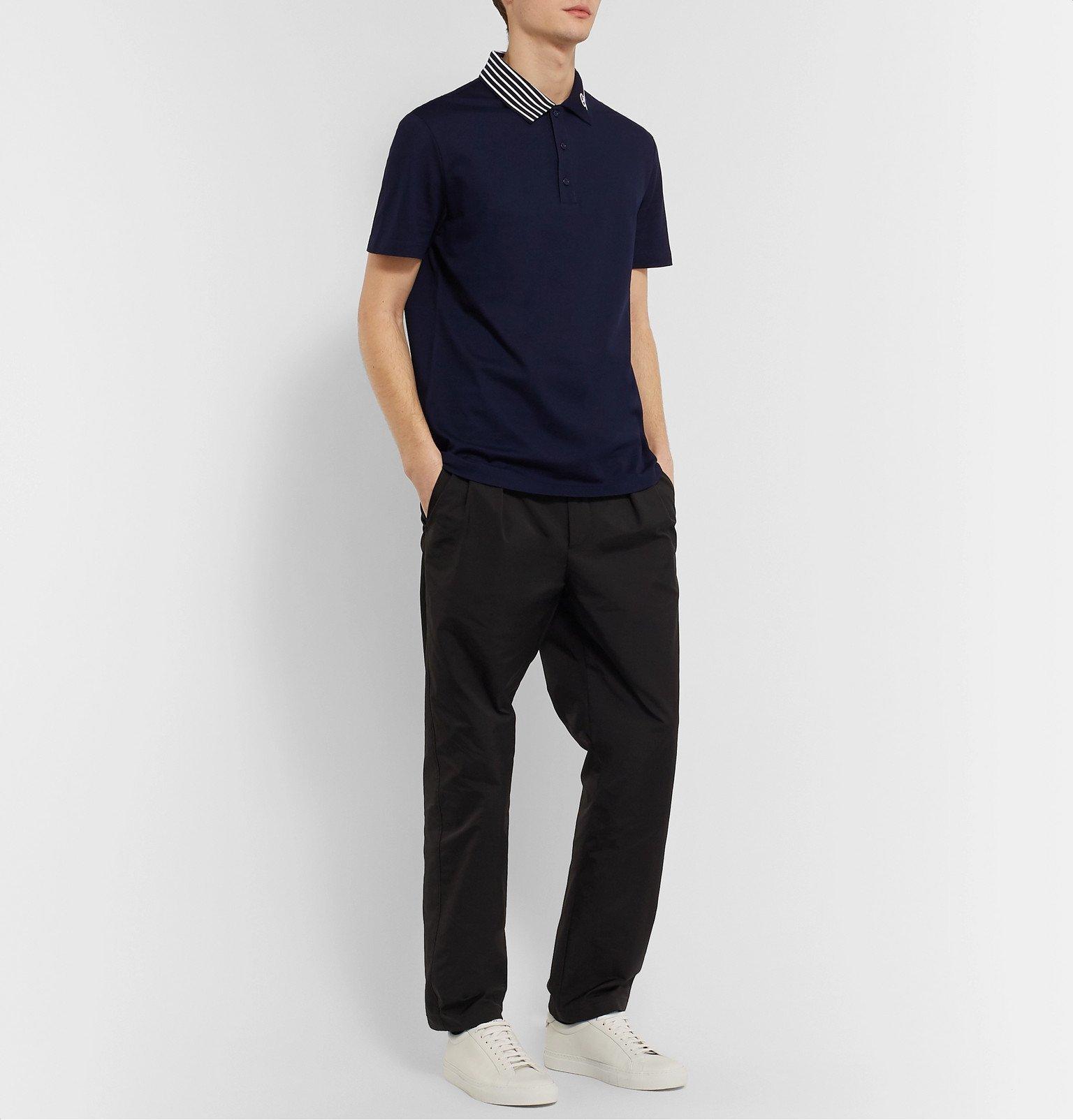 Versace - Logo-Embroidered Cotton-Piqué Polo Shirt - Blue