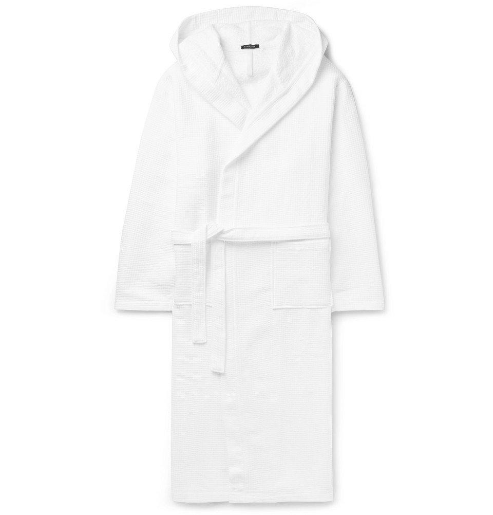 Schiesser - Waffle-Knit Cotton Hooded Robe - Men - White