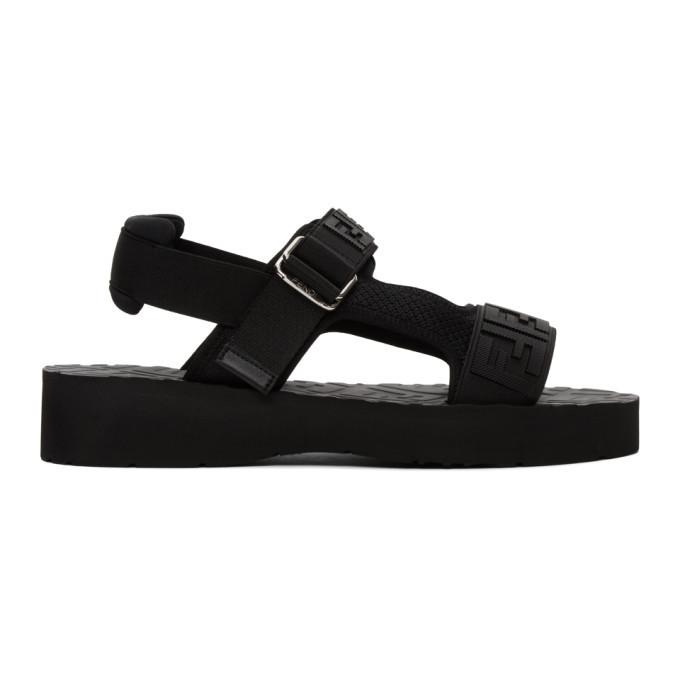 Photo: Fendi Black Logo Strap Sandals