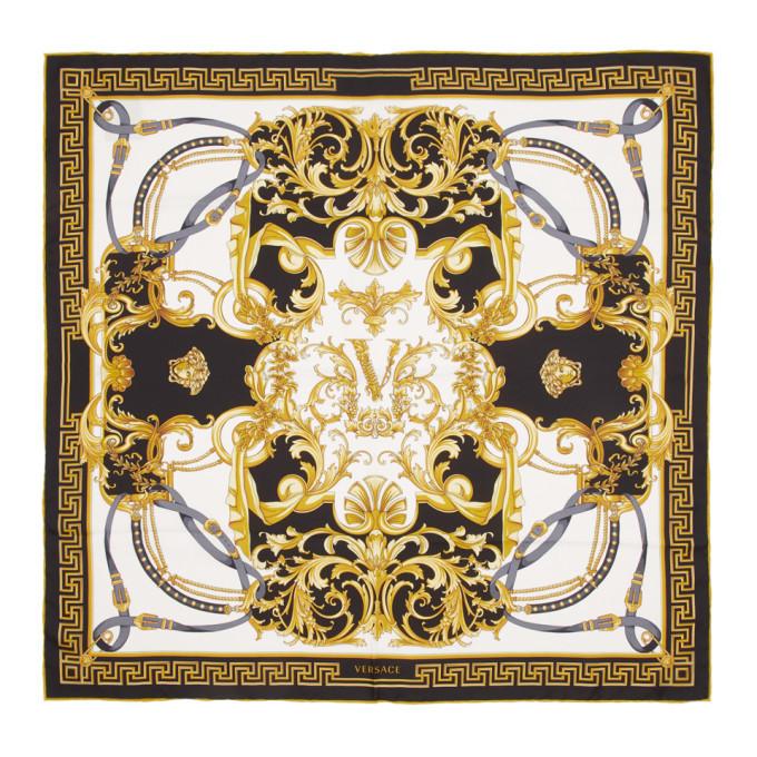 Versace Black Silk Barocco Scarf