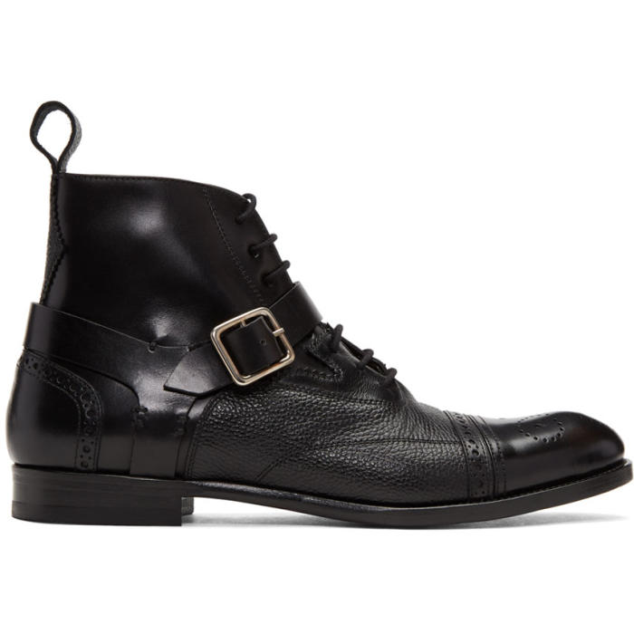 Photo: Alexander McQueen Black Buckle Brogue Boots