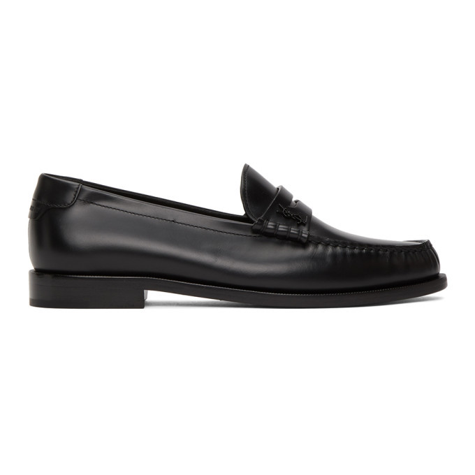Photo: Saint Laurent Black Monogram Penny Slippers
