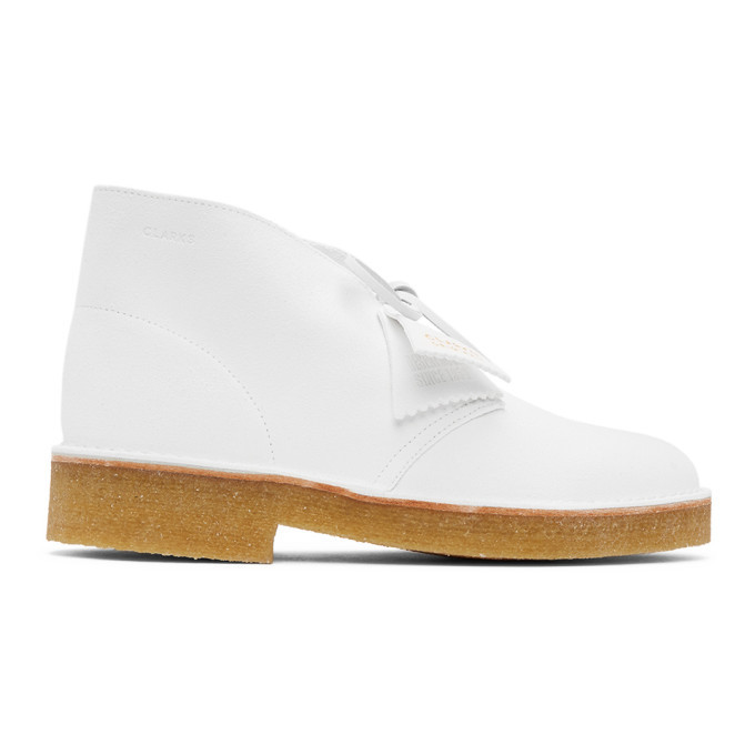 Photo: Clarks Originals White Suede Desert Boots