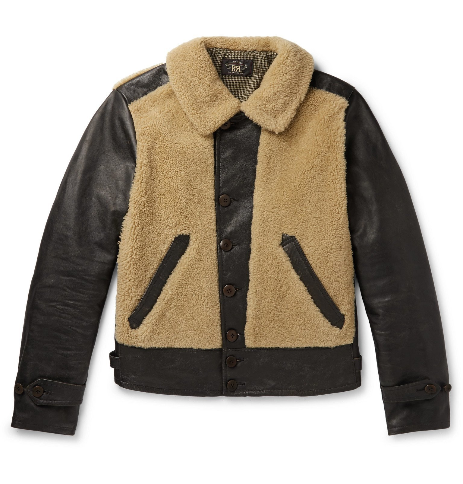 Photo: RRL - Shearling-Panelled Leather Jacket - Brown