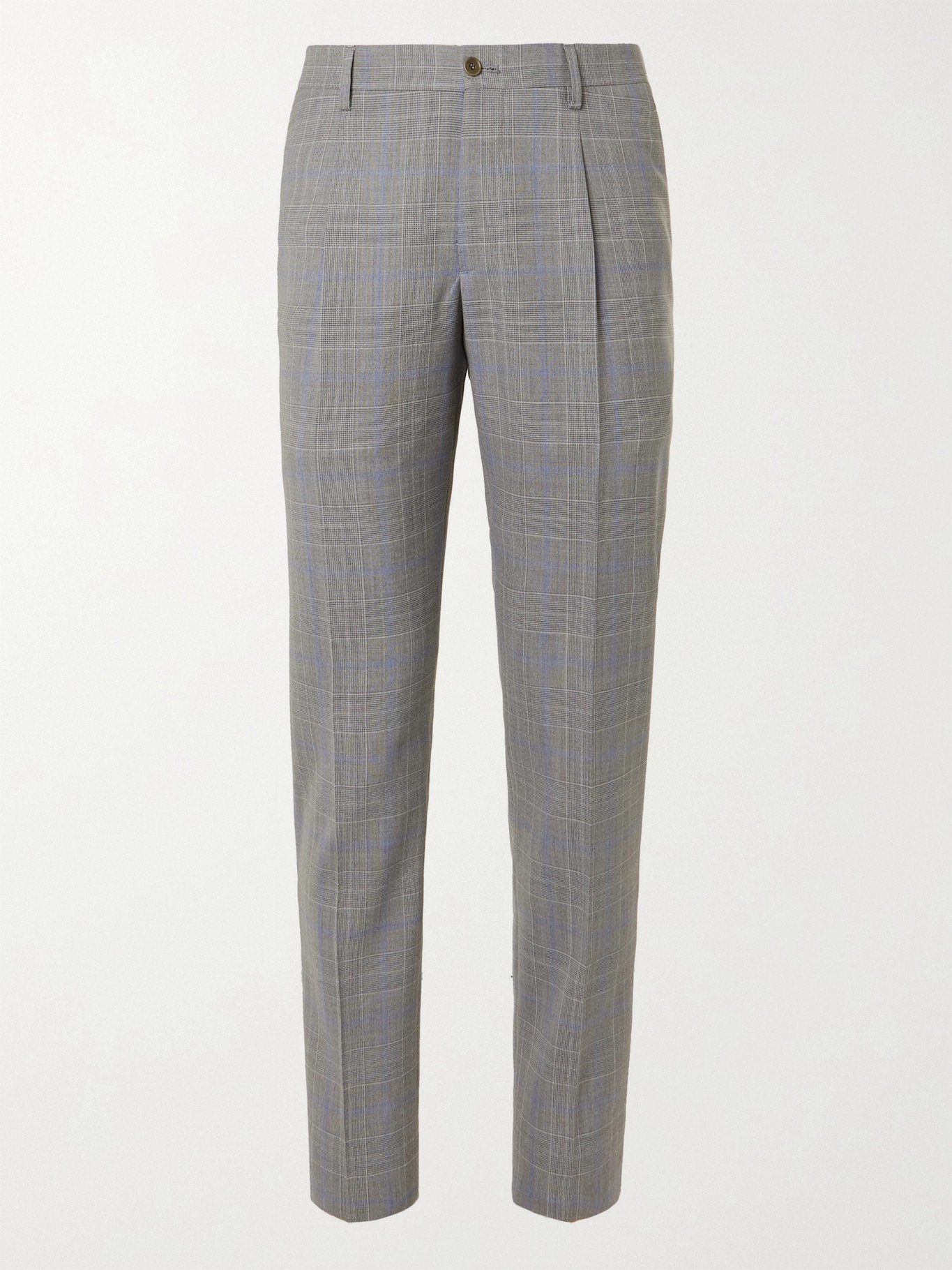 Photo: GIORGIO ARMANI - Prince of Wales Checked Wool Suit Trousers - Gray - IT 46