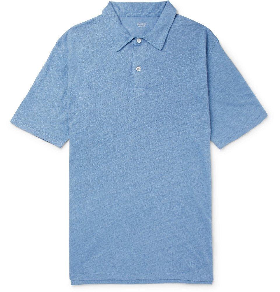 Hartford Slub Linen Polo Shirt Men Blue Hartford