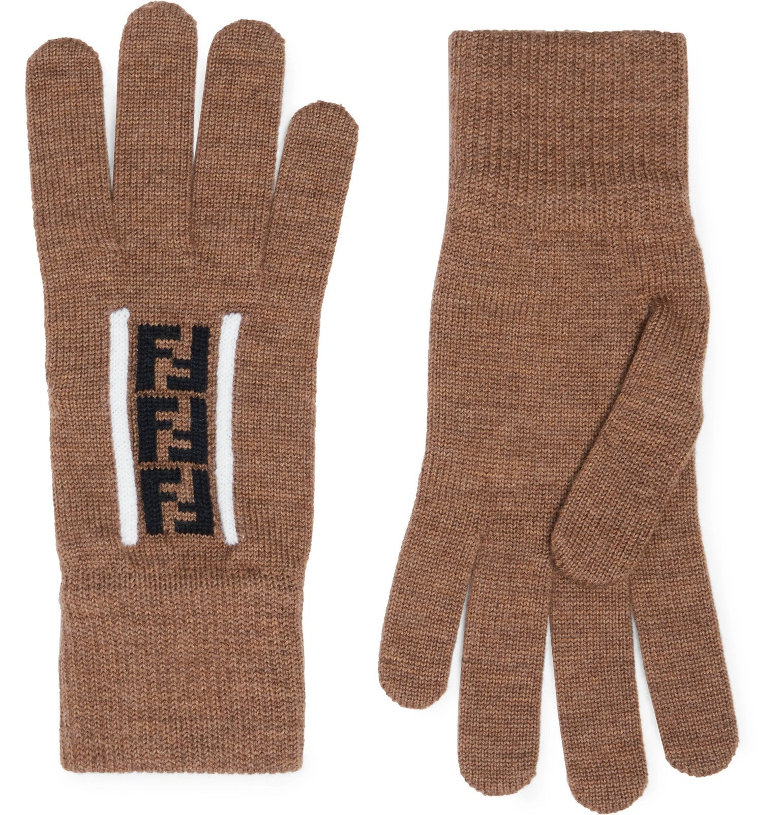 Photo: Fendi - Logo-Jacquard Virgin Wool Gloves - Brown