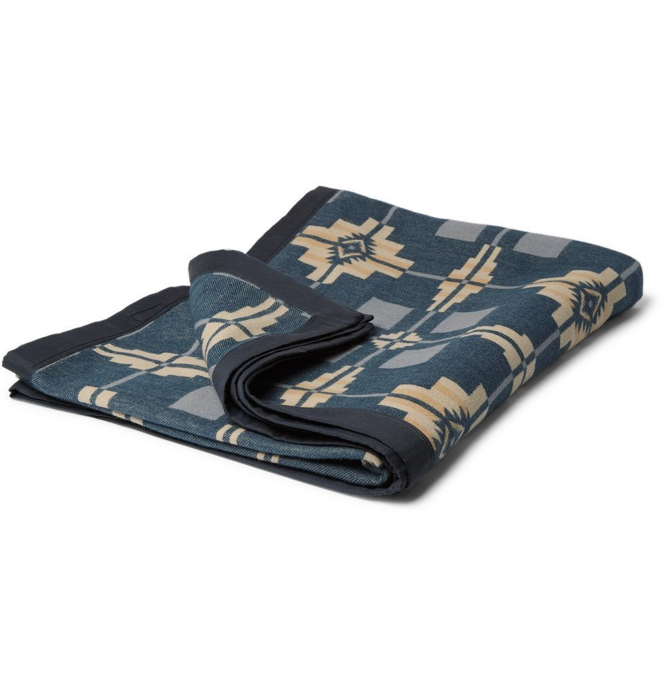 RRL - Twill-Trimmed Cotton-Jacquard Blanket - Men - Navy