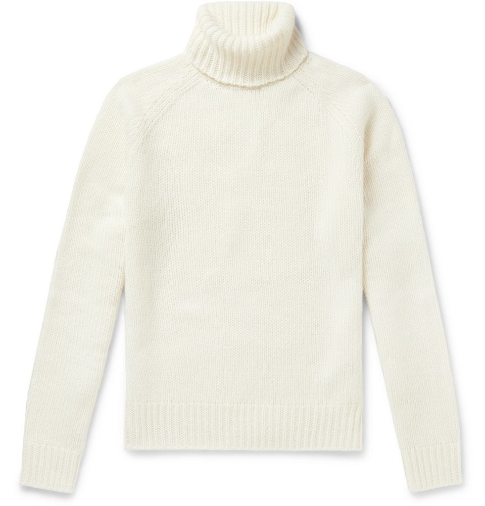 Photo: Ralph Lauren Purple Label - Wool and Cashmere-Blend Rollneck Sweater - Cream