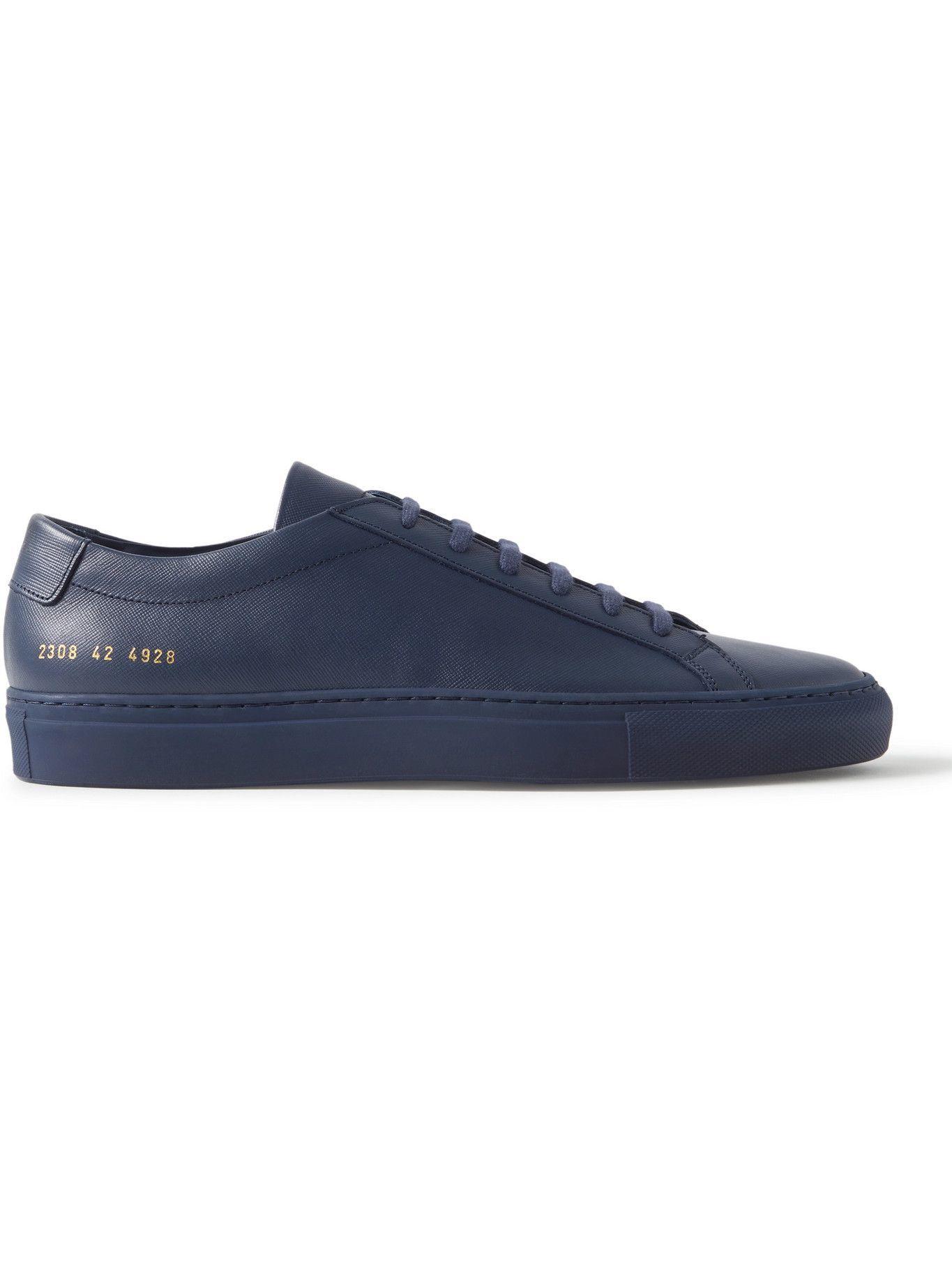 Photo: Common Projects - Original Achilles Saffiano Leather Sneakers - Blue