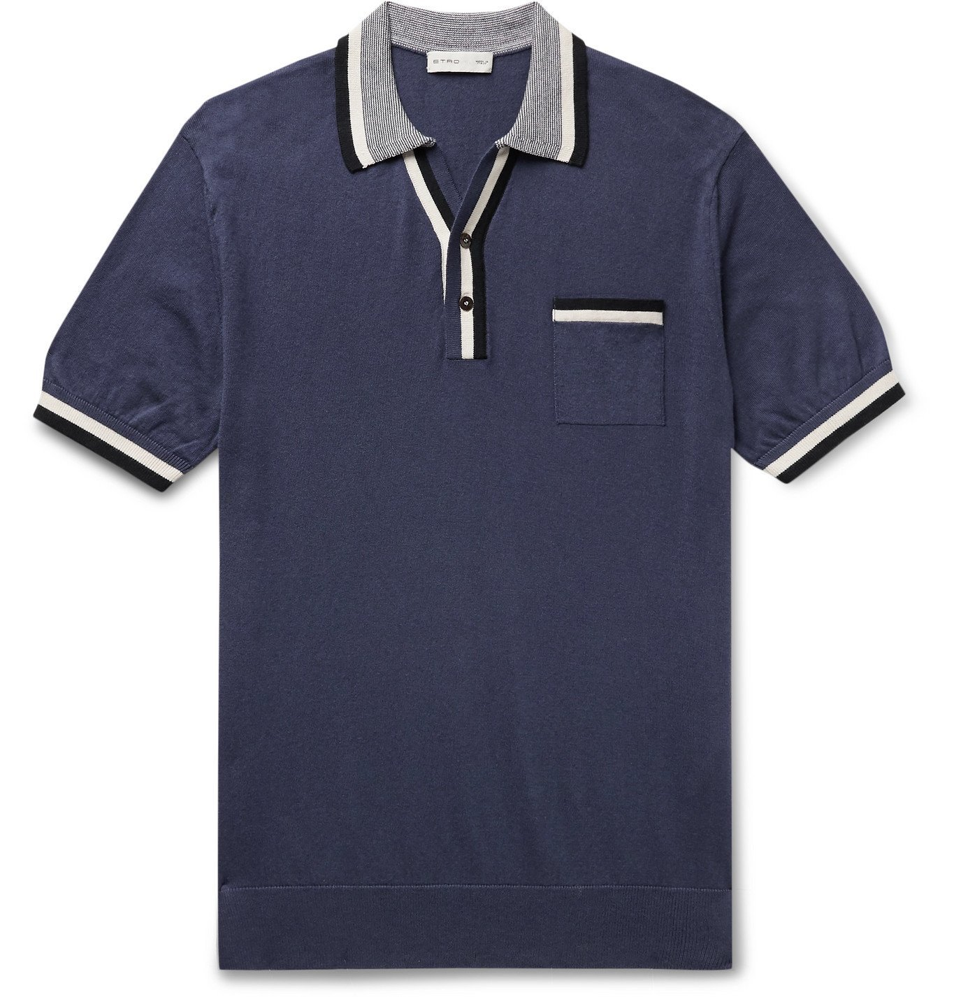 Photo: Etro - Contrast-Tipped Cotton and Cashmere-Blend Polo Shirt - Blue