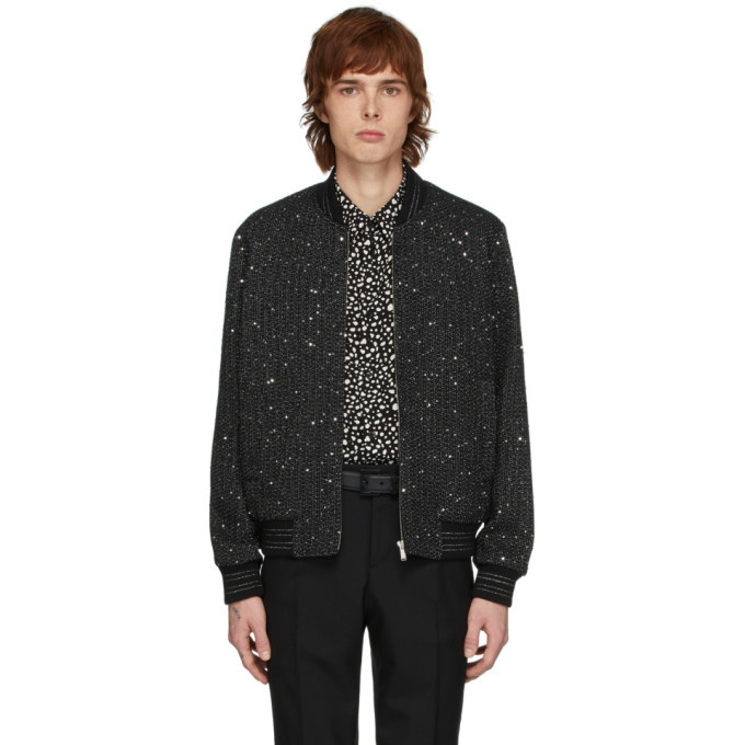 Photo: Saint Laurent Black and Silver Tweed Teddy Bomber Jacket