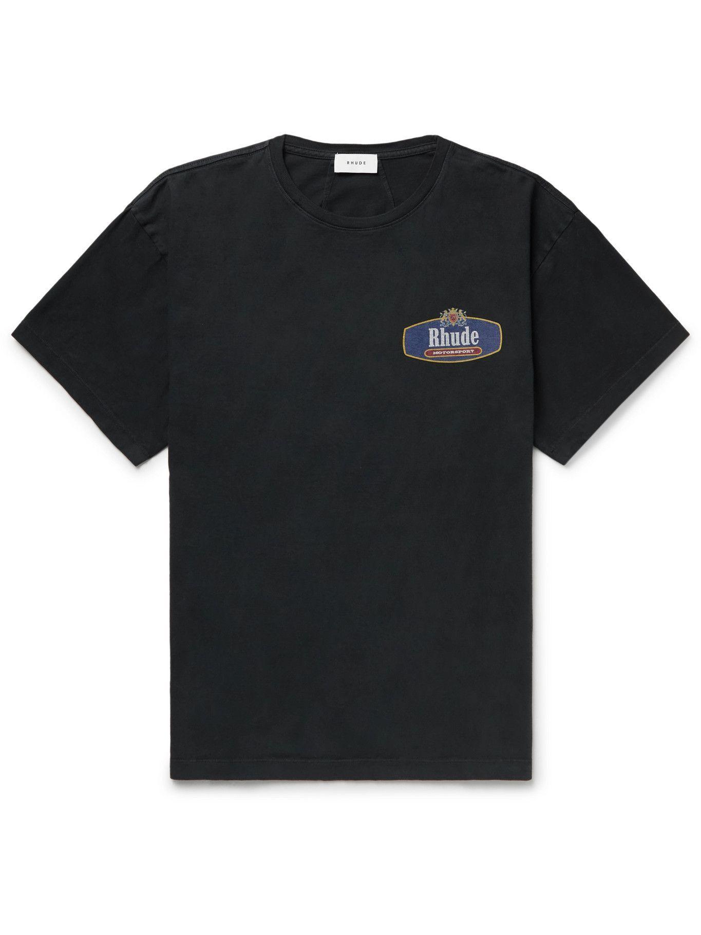 Photo: Rhude - Printed Cotton-Jersey T-Shirt - Black