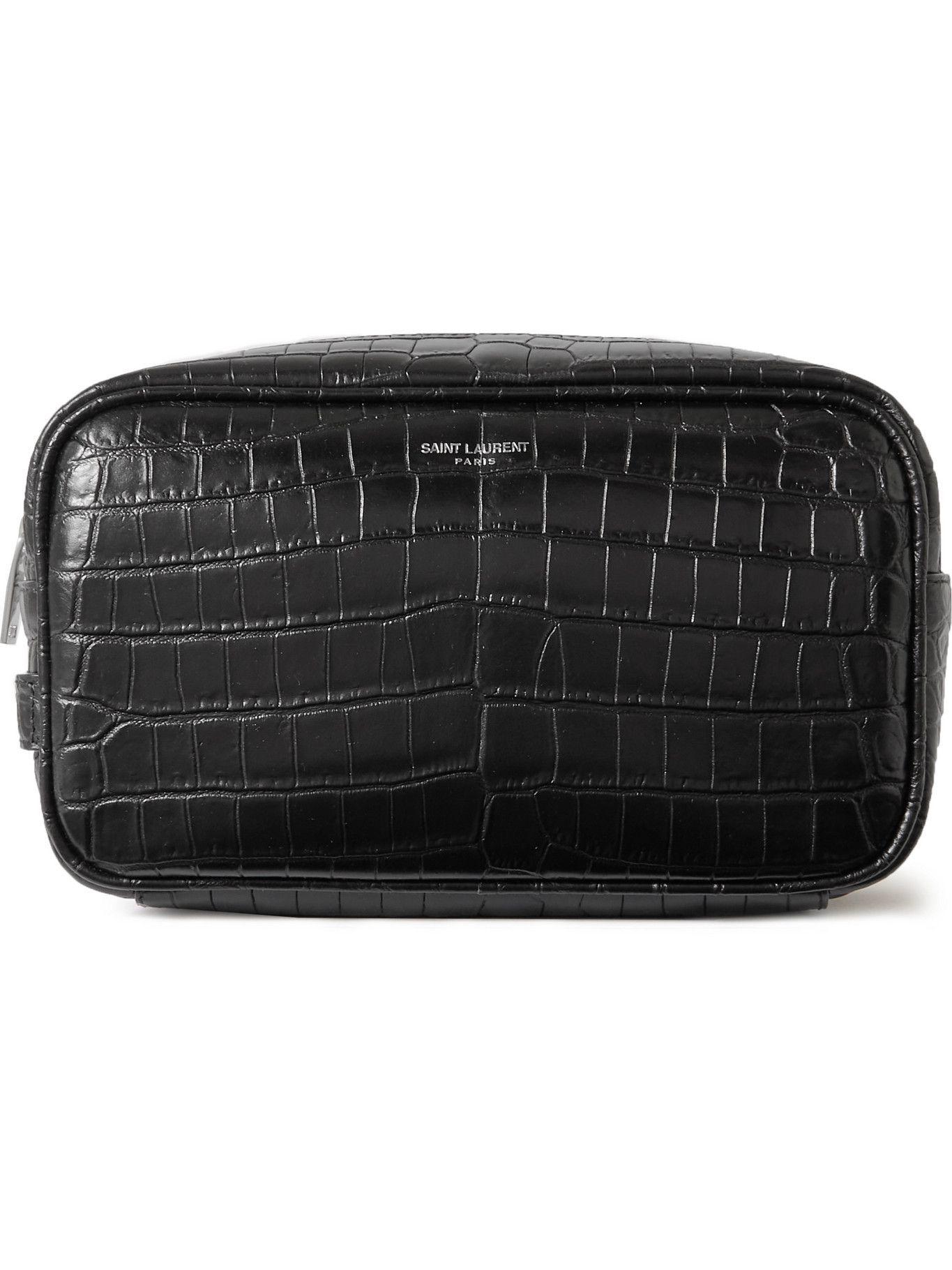 Photo: SAINT LAURENT - Croc-Effect Leather Wash Bag
