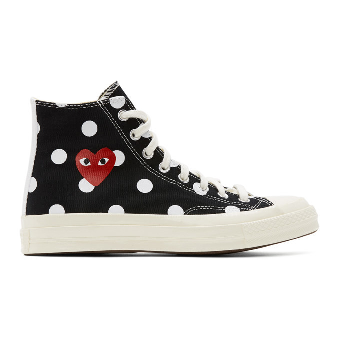 Photo: Comme des Garcons Play Black Converse Edition Polka Dot Heart Chuck 70 High Sneakers